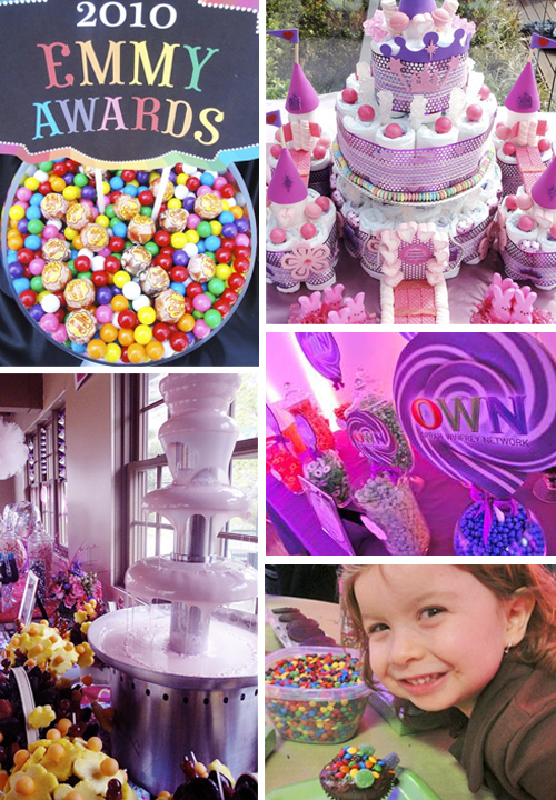 and celebrities Jackie and her staff create special candy buffets and