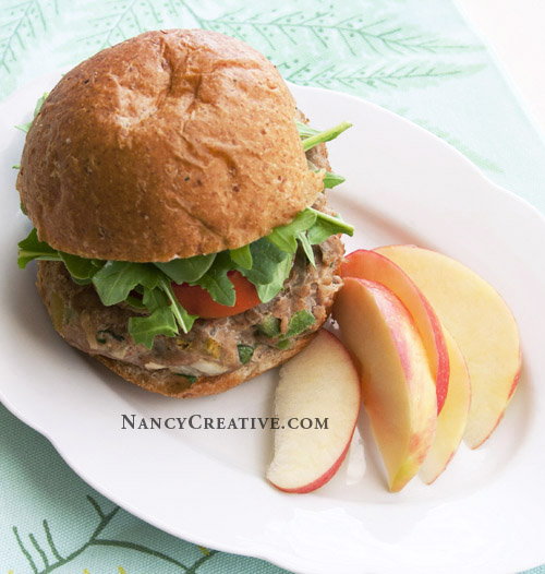 Apple Turkey Burger on Whole Wheat Bun