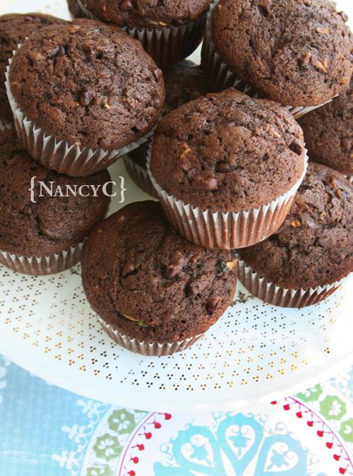 Very Chocolate Zucchini Muffins @ NancyC