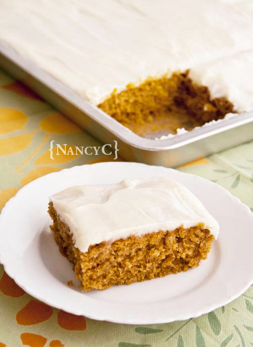 Pumpkin Sheet Cake @ NancyC