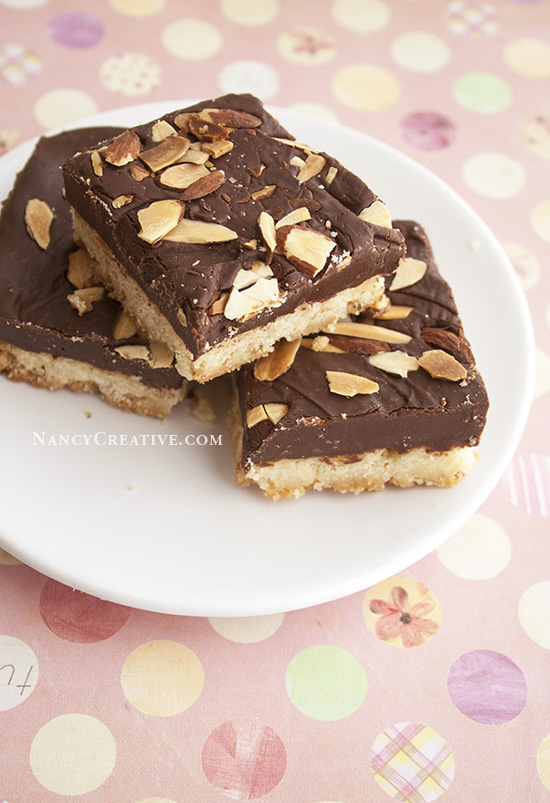 DARK CHOCOLATE ALMOND SHORTBREAD SQUARES by NancyC, adapted from Eagle ...