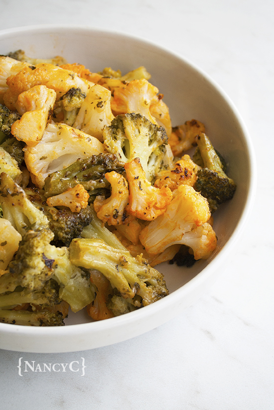 Buffalo Ranch Roasted Cauliflower and Broccoli @ NancyC