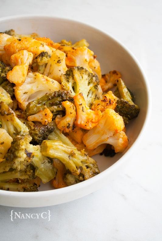 Buffalo Ranch Roasted Cauliflower and Broccoli @ NancyC