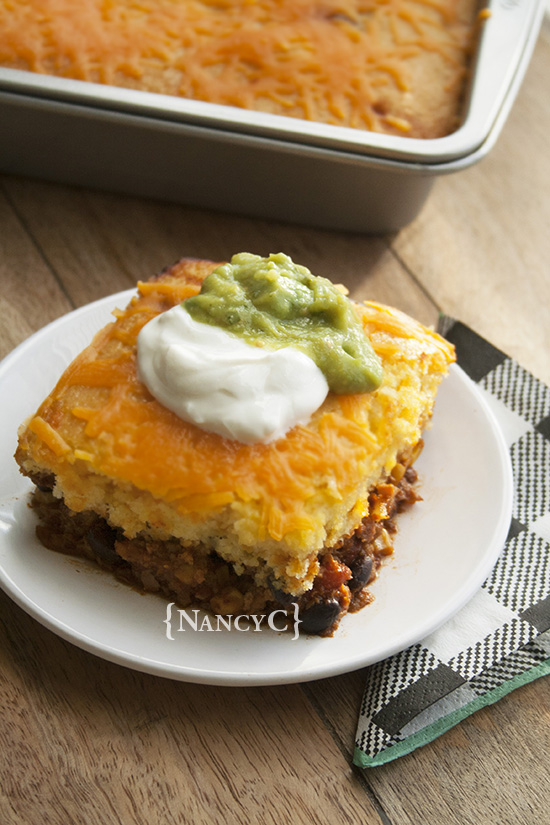 Cheesy Chili Cornbread Bake @ NancyC
