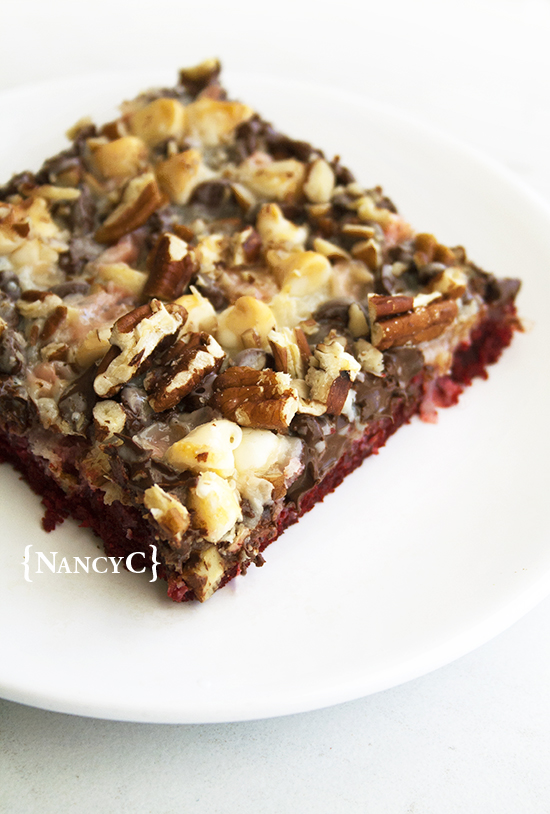 Red Velvet Magic Bars @ NancyC