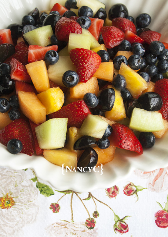 Fruit Salad with Honey Lime Dressing @ NancyC