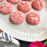 Strawberry Crinkle Cookies