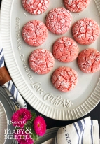 Strawberry Crinkle Cookies2 @ NancyC