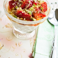 Yogurt with Strawberries and Pistachios