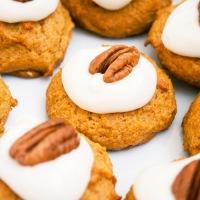 Pumpkin-Pecan Cookies with Creamy Glaze